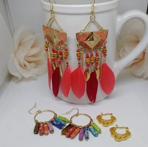 3 pair of boho earring lot